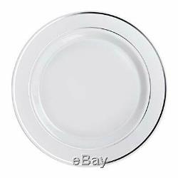 OCCASIONS 240 Plates Pack, (1. Dinner PlateA1. White & Silver Rim)