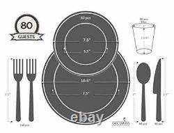 OCCASIONS 640pcs set 80 640 Piece (80 Guest) A1. White with Silver Rim