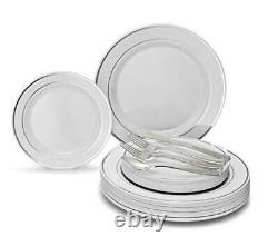 OCCASIONS 720 720 pcs (120 guests) A. White & Silver Rim, Silver Silverware