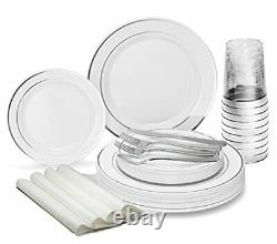 OCCASIONS 960pcs set 120 960 Piece (120 Guest) A1. White with Silver Rim
