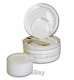 OCCASIONS Wedding Party Disposable Plastic Plates & Gold Silverware Customize