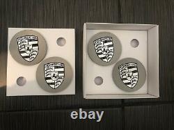 OEM Porsche 911 Wheel Rim Center Caps, Black over Silver, NEVER USED
