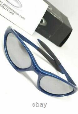 Oakley Iridium Full Rim USA Blue Frame Race Sunglasses 100% authentic