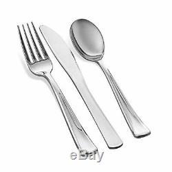 Party Tableware Set Plastic Disposable Dinnerware 100 Guests, Silver Rim 700 Pcs