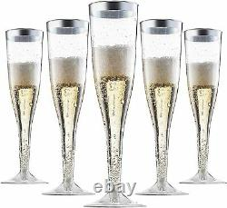 Plastic Champagne Flutes Disposable With Silver Rim Box Of 36 6.5 Oz Pack of 6