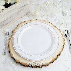 Plastic WHITE Silver Rim 10 PLATES Disposable Party Wedding Buffet Tableware