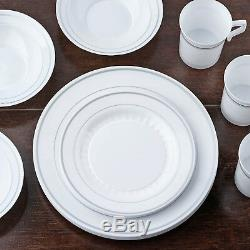 Plastic WHITE Silver Rim 7.5 PLATES Disposable Party Wedding Catering SALE
