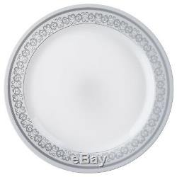 Plastic WHITE with Silver Rim 10.25 PLATES Disposable Party Wedding WHOLESALE