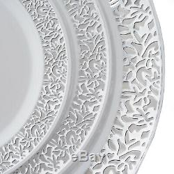Plastic WHITE with Silver Rim 6.25 PLATES Disposable Party Wedding WHOLESALE