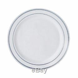 Plastic WHITE with Silver Rim 7.5 PLATES Disposable Party Wedding WHOLESALE