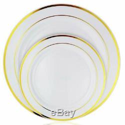 Plastic disposable plates lunch dinner party round gold rim/silver rim 7' & 10