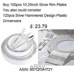 Plates 100Pieces Silver Plastic Plates-10.25inch Rim Disposable Dinner For &