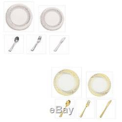Plexware Collection Swirl Rim China-Like Plastic 10 Dinner Plates