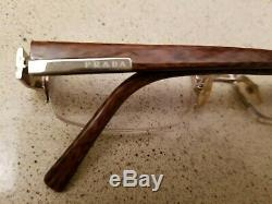 Prada Eyeglasses Frame VPR 64H 7BP-1O1 135 Brown Silver Half Rim Frame Italy