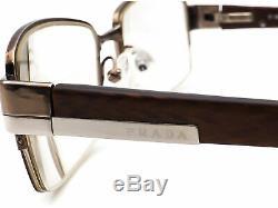 Prada Eyeglasses VPR 64H 7BP-1O1 Brown Silver Half Rim Frame 5118 135