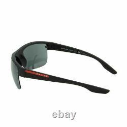 Prada Sport Men Sunglasses PS-17US-DG05L0 Semi-Rim Aviator Black Gray 3N