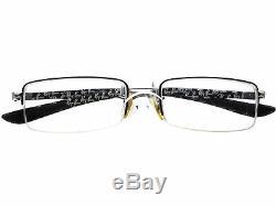 Ray Ban Eyeglasses RB 8407 2709 Carbon Fiber Silver Half Rim Frame 5217 140