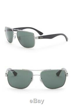 Ray-Ban RB3483 Men Sunglasses Rectangular Silver Rim Black Lens
