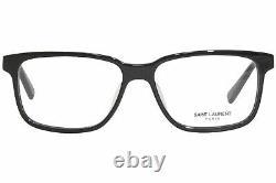 Saint Laurent SL-458/F 001 Eyeglasses Men's Black/Silver Full Rim Square 55mm