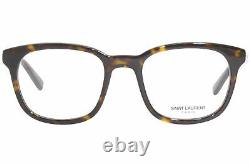 Saint Laurent SL-459 002 Eyeglasses Men's Havana/Silver Logo Full Rim Square
