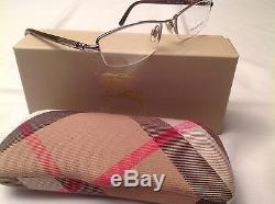Sale! Burberry B1197 1110 52-17-135 Shiny Brown Silver Half Rim Eyewear Case Box