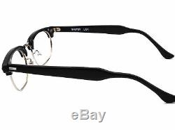 Shuron Eyeglasses Ronsir 5 3/4 Silver/Black Horn Rim Frame USA 5020 140