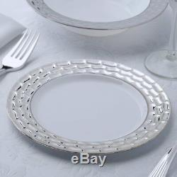 Silver Flared Rim Plastic 7.25 Round Plates Fancy Party Wedding Reception Table