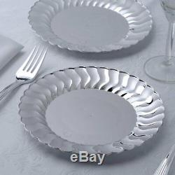 Silver Flared Rim Plastic 7.5 Round Plates Disposable Party Wedding Catering