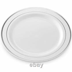 Silver Rimmed Plastic Dinner Plates (100 Pack) 10.25 Inch Heavyweight White Or