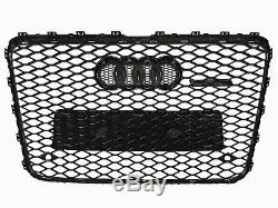 Style Front Sport Black Mesh Bumper Grill Silver Rim For 06-15 Audi Q7 RSQ7 Styl