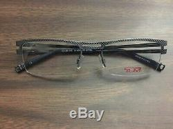 TUMI T108 Eyeglasses Frame Japan Half Rim Brushed Silver Blue New 53 18 140