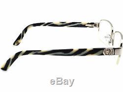 Versace Eyeglasses MOD 1185-B 1000 Silver/Zebra Half Rim Frame Italy 5317 135