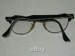 Vintage Bausch + Lomb Horn Rimmed Eyeglasses 12K GF Black & Silver 4-1/4-5-1/2