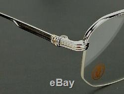 Vintage Cartier Broadway brushed platinum/gold 51-23-140 Half rim France 1990s