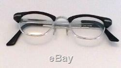 Vintage Men's Horn Rimmed Eyeglasses G-Men Glasses Black & Silver CUTLASS