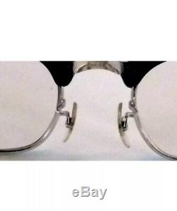 Vintage Men's Horn Rimmed Eyeglasses G-Men Glasses Black & Silver CUTLASS
