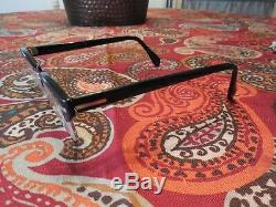 Vintage Mens Universal Uoc 1/20 12k Gf Black/silver Horn Rim Browline Eyeglasses