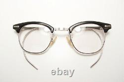 Vintage Shuron 1/10 12K GF 4424 Graywood Silver Horn Rim 50s Eyeglasses Frames