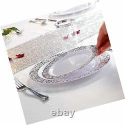 WDF 102PCS Silver Plastic Plates-Disposable Plastic Plates with Silver Rim- L