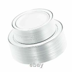 WDF 120PCS Silver Plastic Plates-Disposable Plastic Plates with Silver Rim- P