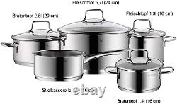 WMF Pot Set 5-Piece Astoria Pouring Rim Glass Lid Cromargan Stainless Steel for