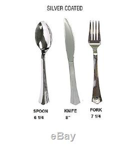 Wedding Dinner Party Disposable Plastic Plates & silverware, white /silver rim
