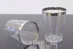 Wedding Reception 10oz Disposable Plastic Tumblers cups clear with silver rim