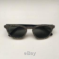 YSL sunglasses Silver Glitter Black Ray an Style Rim Square Round Plastic Frames