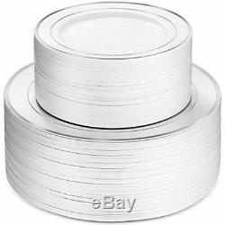100 Plaques Piece Parti Plastique Blanc Argent Rim, 50 Haut De Gamme Heavy Duty 10,25 Et