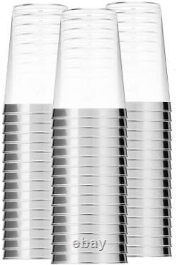 100 Tasses En Plastique Argent Recyclables Verres À Vin Silver Rimmed Décoration De Mariage