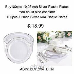 100pieces Plaques En Plastique-10.25inch Rim Plaques De Dîner Jetables-ideal Argent