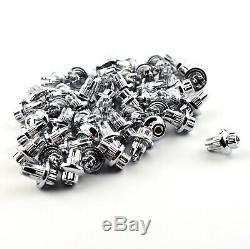 100x Plastique 0.3in Roue Rivets Nuts Rim Remplacement Des Lèvres Universal Chrome Argent