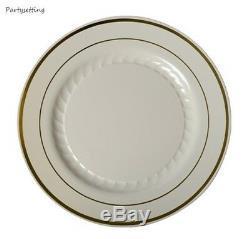 120 10 Assiettes Chinoises En Plastique Jetable Blanc, Noir, Argent, Os