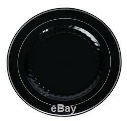 120 9 Assiettes Chinoises Ressemblent À Du Blanc, Des Os, Du Plastique Noir, Argenté Et Argenté